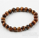 8mm Round Natural Tiger Eye Elastic Beaded Bracelet