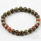 Wholesale 8mm Round Green Piebald Stone Elastic Beaded Bracelet