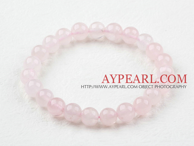 8mm Round Natural Rose Quartz Elastic Beaded Bracelet