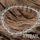 8mm Round White Crystal Glass Elastic Beaded Bracelet