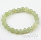 8mm Round Natural Serpentine Jade Elastic Beaded Bracelet