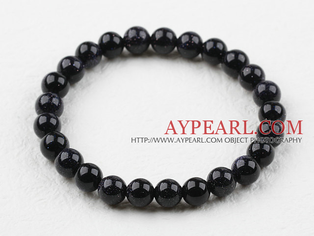 8mm Round Bluesand Stone Elastic Beaded Bracelet
