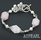 7 inches white pearl and rose quartz bracelet with toggle clasp