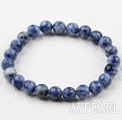 8mm Round Blue Spot Stone Elastic Beaded Bracelet
