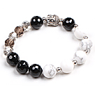 Simple Crystal Black Agete White Porcelian Stone Beads Stretch / Elastic Bracelet With Buddha Head Charm