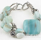 Natural Amazon Stone Bracelet with Heart Shape Clasp