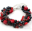 Wholesale New Design Multi Strand Black Pearl Crystal and Red Coral Bracelet