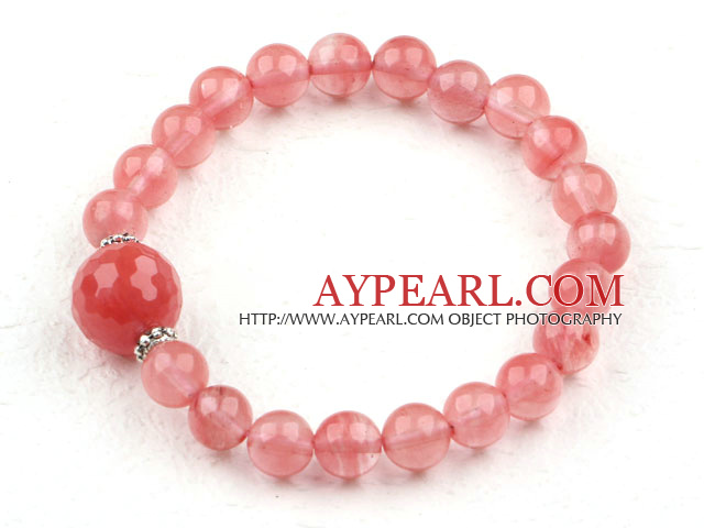 Classic Design Cherry Quartz Beaded Elastic Bangle Bracelet