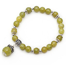 Wholesale Classic Design Olive Jade Stone Elastic Bangle Bracelet