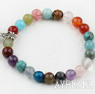 Assorted Multi Color Multi Stone Beaded Elastic Bangle Bracelet