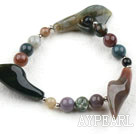 Assorted Indian Agate Elstic Bangle Bracelet