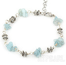 Wholesale simple aquamarine chips bracelet with lobster clasp