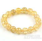 10mm Light Yellow Round Immitation Amber Elastic Bangle Bracelet