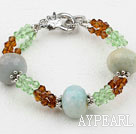 Wholesale New Design Faceted Amazon Stone and Crystal Bracelet