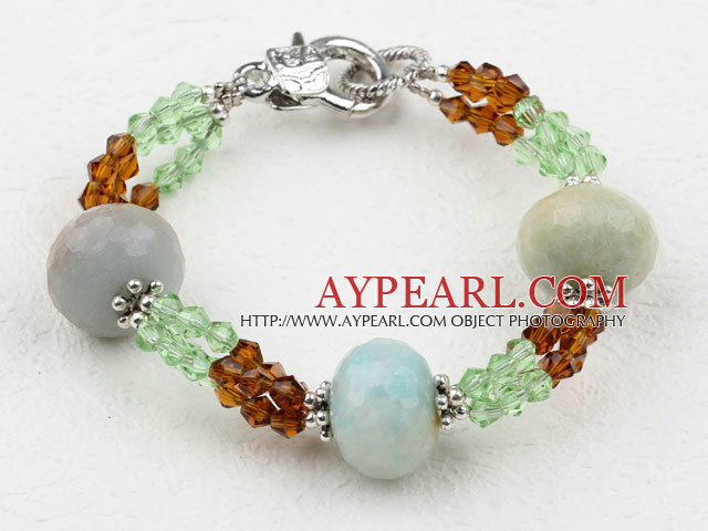 New Design Faceted Amazon Stone and Crystal Bracelet