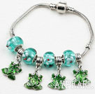 Wholesale Fashion Style Green Colored Glaze and Frog Shape Accessories Charm Bracelet