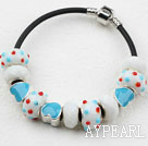Wholesale Fashion Style Light Blue Colored Glaze Charm Bracelet