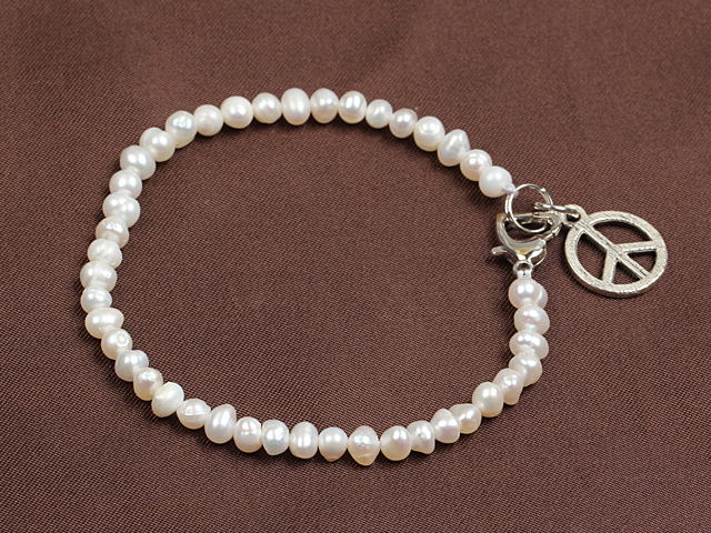 Simple Elegant Style Natural White Freshwater Pearl Elastic/ Stretch Bracelet