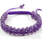 Wholesale Fashion Style Two Rows Round Amethyst Woven Adjustable Drawstring Bracelet