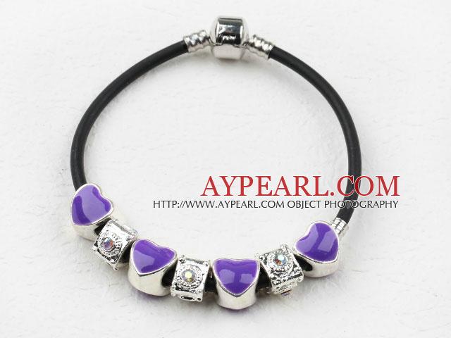 Fashion Style Purple Color Heart Shape Accessories Charm Bracelet