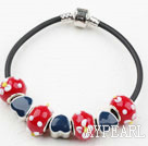 Fashion Style Red Colored Glaze Spring Charm Bracelet