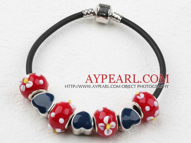 Fashion Style Red Colored Glaze Spring Charm Bracelet