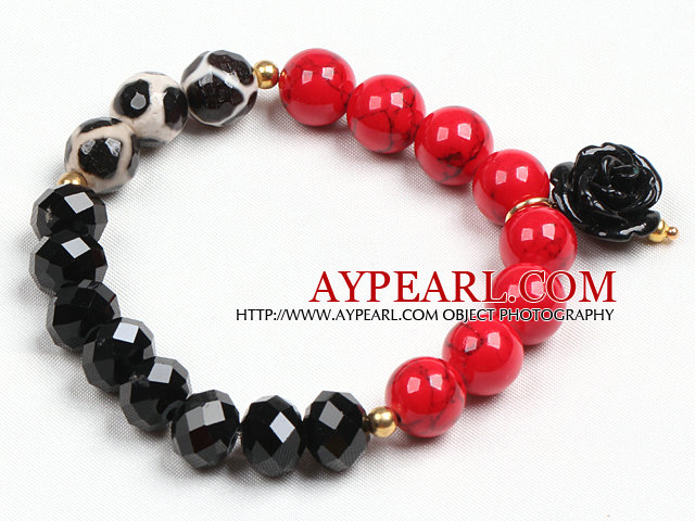 Simple Style Single Strand Black Crystal Red Blood Stone Hand-Painted Agate Beads Stretch/ Elastic Bracelet With Flower Charm