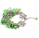 Fashion Multi Strand Green Crystal Beads Charm Bracelet