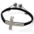 Sideway/Side Way Two Row White Cross with White Rhinestone Weaved Adjustable Drawstring Bracelet with Hematite Beads