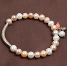 Simple Elegant Style 7-8Mm Natural White Pink Purple Freshwater Pearl Elastic/ Stretch Bracelet With Tube Charm