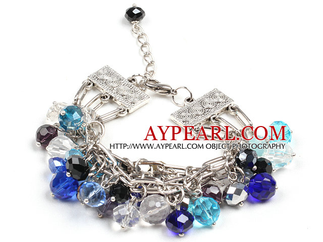 Fashion Multi Strand Multi Color Crystal Beads Charm Bracelet