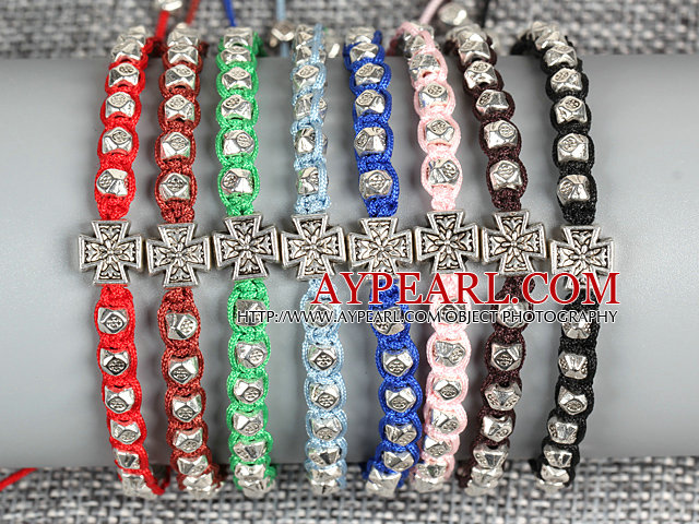 8 PCS Nickel Free Alloyed Cross Charm Multi Color Thread Hand-Knitted Bracelet (Random Color)