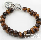 Wholesale Fillet Tiger Eye Bracelet with Heart Shape Metal Accessory