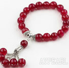 Wholesale 10mm Faceted Rosy Red Agate Elastic Bracelet