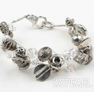 Imitation Silver and Crystal Bracelet with Lobster Clasp