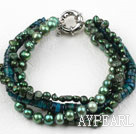 Wholesale Green Series Multi Strands Green Freshwater Pearl and Phoenix Stone Bracelet