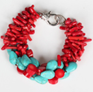 Multi Strands Assortert Red Coral Branch og oval form Turkis armbånd