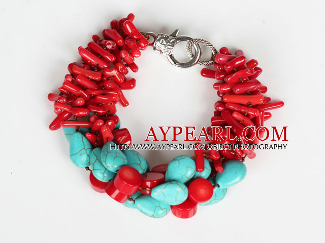 Multi Strands Assorted Red Coral Branch and Oval Shape Turquoise Bracelet