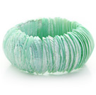 Light Apple Green Color Trochus Shell Stretch Bangle Bracelet