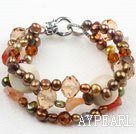 Three Strands Brown Series Brown Freshwater Pearl and Agate and White Coral Bracelet