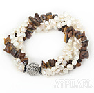 Wholesale Multi Strands White Freshwater Pearl and Tiger Eye Bracelet
