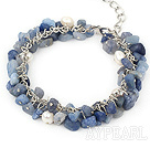 Wholesale pearl and blue gem bracelet with metal chain and lobster clasp