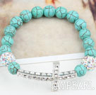 Hvit Rhinestone sidelengs / Side Way Kors og Round Burst Mønster Turquoise Stretch Bracelet