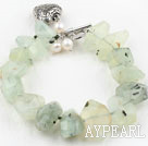 Wholesale Irregular Shape Faceted Prehnite Stone Bracelet with Heart Shape Metal Accessories