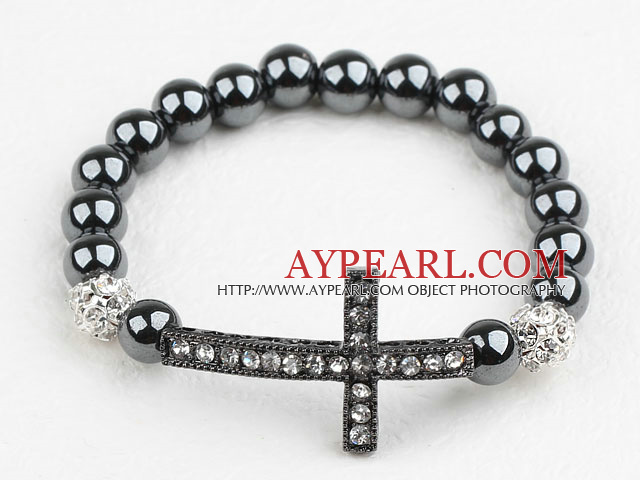 Black Rhinestone Sideway/Side Way Cross and Round Hematite Stretch Bracelet