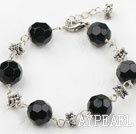 Classic Design 12mm Round Black Crystal Bracelet with Extendable Chain