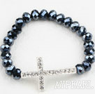 White Rhinestone Sideway/Side Way Cross and Black Crystal Stretch Bracelet