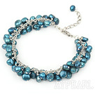 Wholesale 6-7mm dyed dark green pearl bracelet with metal chain and lobster clasp