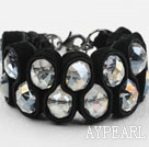 Fashion Style Clear Crystal and Black Velvet Ribbon Woven Bold Bracelet