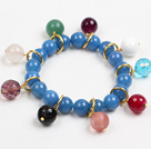 Wholesale Fashion Charm Style Blue Agate Beads Elastic/ Stretch Bracelet With Multi Gemstone Bead Charms